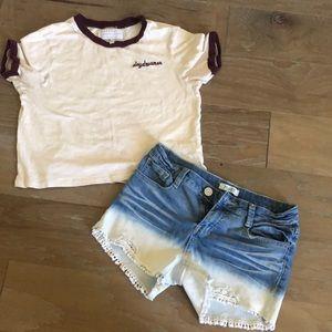 Kendall & Kylie top w/ Girls Mudd sz 12 Jean short